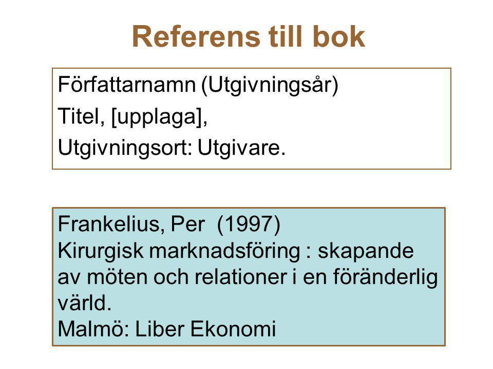 Referens till bok Författarnamn (Utgivningsår) Titel, [upplaga],
